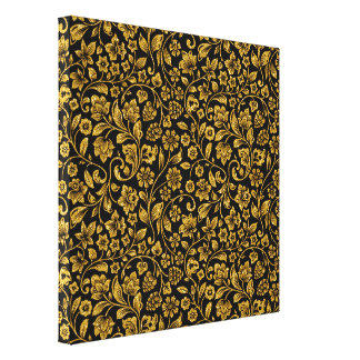 Glitter Effect Gold Floral on Black Canvas Print