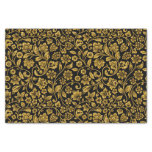 """Glitter Effect Gold Floral on Black 10"""" X 15"""" Tissue Paper"""