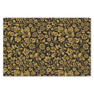 "Glitter Effect Gold Floral on Black 10"" X 15"" Tissue Paper"