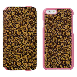 Glitter Effect Gold Floral on Black iPhone 6/6s Wallet Case