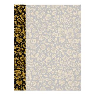 Glitter Effect Gold Floral on Black Letterhead