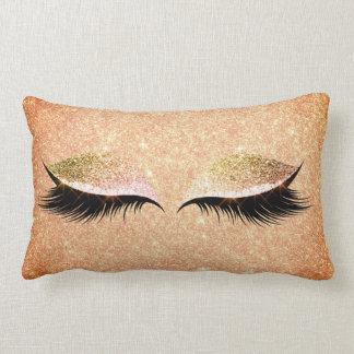 Glitter Eye Lashes Makeup Gold Make Up Peach Pink Lumbar Pillow