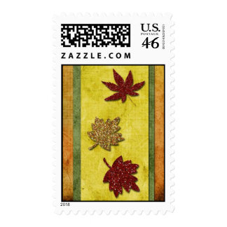Glitter fall leaves postage