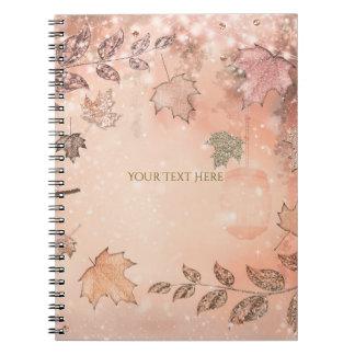 Glitter Fall Leaves Winter Golden Autumn Winter Notebook