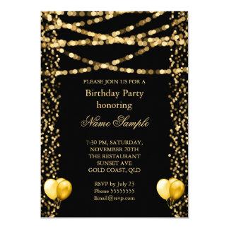Glitter Faux Foil Gold Balloons Black Birthday Card