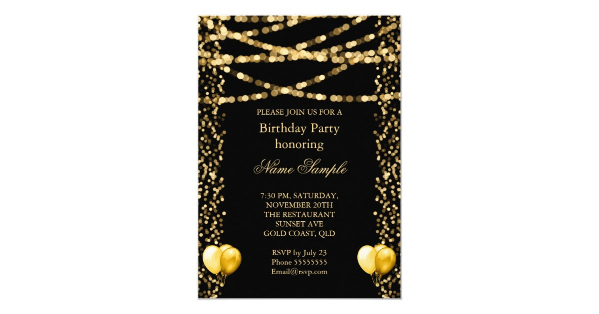 Glitter Faux Foil Gold Balloons Black Birthday Card Zazzlecom - Birthday invitation gold coast