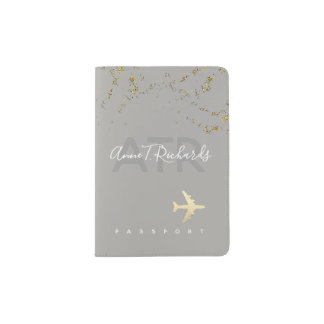 glitter(faux gold dots) with handwritten name gray passport holder