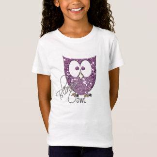Glitter (Faux) Purple Bling Owl T-Shirt