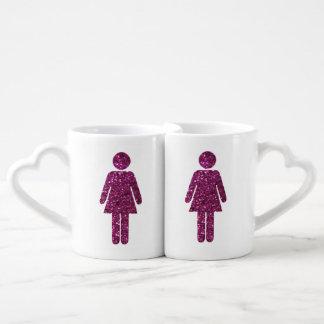 Glitter Female Couple Coffee Mug Set