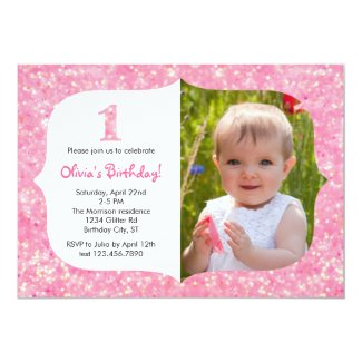 "Glitter First Birthday Invitation 5"" X 7"" Invitation Card"