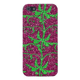 Glitter Flourish Spring Pink Green iPhone 5 Case