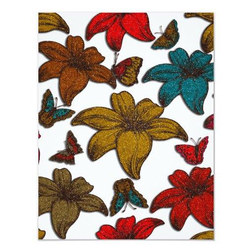 Glitter Flowers 4.25x5.5 Paper Invitation Card