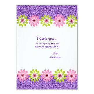 Glitter & FLowers Girls Birthday Thank you Card