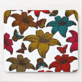 Glitter Flowers Mouse Pad