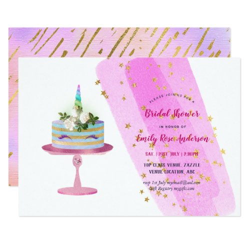 Glitter Foil Look UNICORN CAKE Girls Party ANY Invitation