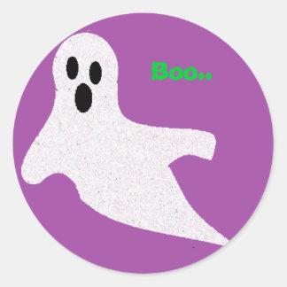 Glitter Ghost Classic Round Sticker
