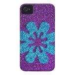 Glitter Girl! Funky Retro Flower in Purple & Blue iPhone 4 Cases