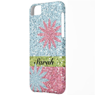 Glitter Girl Pink Blue Flower Sparkle Look Cover For iPhone 5C