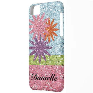 Glitter Girl Pink Blue Sparkle Look Flowers iPhone 5C Case