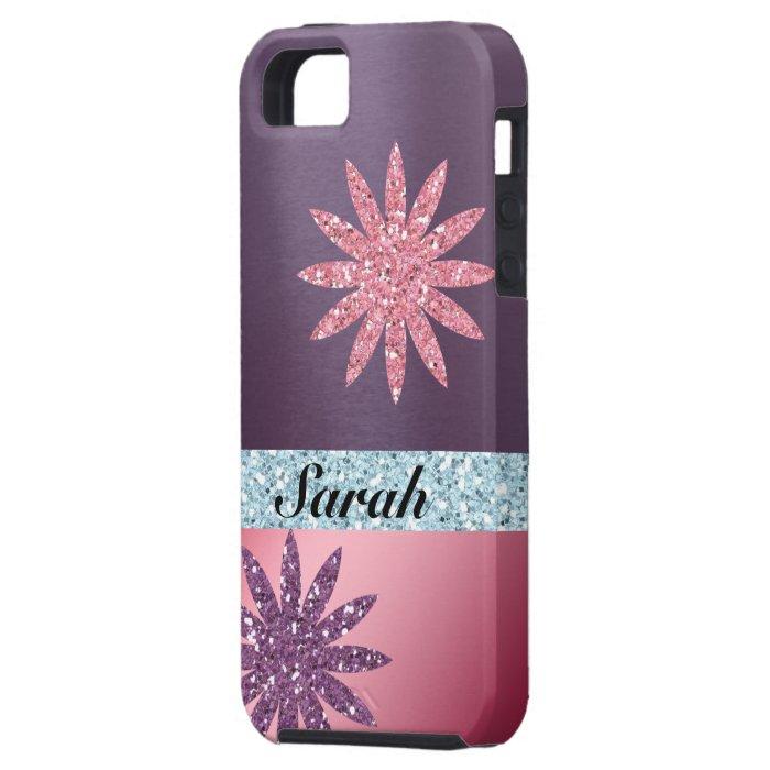 Glitter Girl Pink Purple Flower Metallic Look iPhone SE/5/5s Case