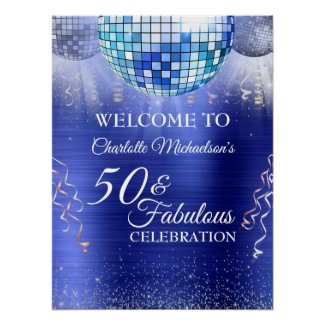 Glitter Glam 50 and Fabulous Blue Metallic Poster