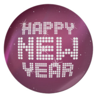 Glitter Glam Happy New Year plate