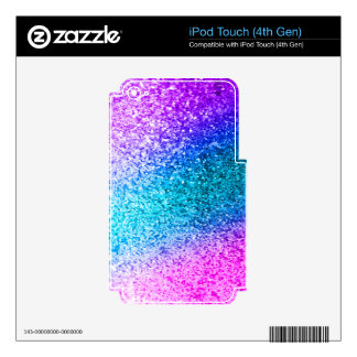 glitter,glam,pink,turquoise,metallic,trendy,girly, iPod touch 4G decal
