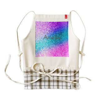 glitter,glam,pink,turquoise,metallic,trendy,girly, zazzle HEART apron