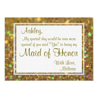 Glitter Glam Will You Be My Maid of Honor Card