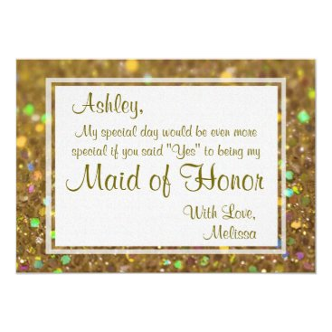GlitterInvitations Glitter Glam Will You Be My Maid of Honor Card