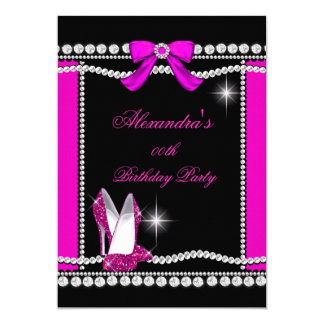 Glitter Glamour Black Hot Pink High Heels Birthday 5x7 Paper Invitation Card