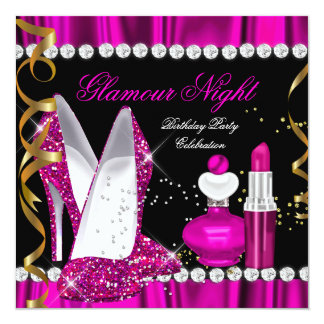 Glitter Glamour Night Deep Pink Gold Black Party 2 Card