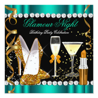 Glitter Glamour Night Jade Gold Black Party 2 Invitation