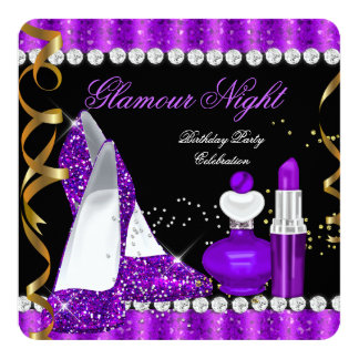 Glitter Glamour Night Purple Gold Black Parties Card
