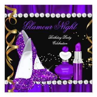 Glitter Glamour Night Purple Gold Black Party 2 Card