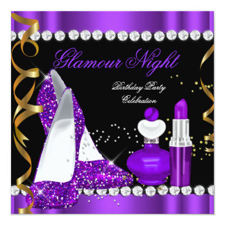Glitter Glamour Night Purple Gold Black Party Card