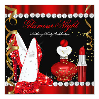 Glitter Glamour Night Red Gold Black Party Card