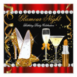 Glitter Glamour Night Red Gold Black Party 5.25x5.25 Square Paper Invitation Card