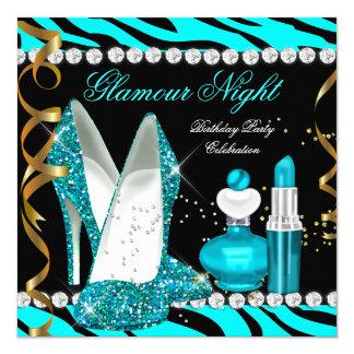 Glitter Glamour Night Teal Blue Gold Black Zebra Card