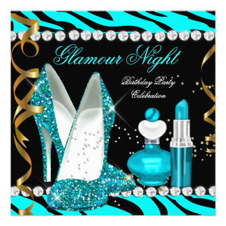 Glitter Glamour Night Teal Blue Gold Black Zebra Personalized Announcement