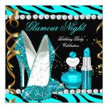 Glitter Glamour Night Teal Blue Gold Black Zebra 5.25x5.25 Square Paper Invitation Card