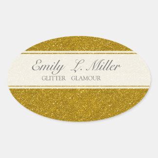 Glitter Glamour Oval Sticker