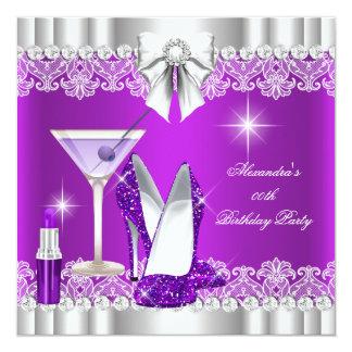 Glitter Glamour Purple Hi Heels Lipstick Martini Invitations