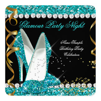 Glitter Glamour Teal aqua Gold Black Party Card
