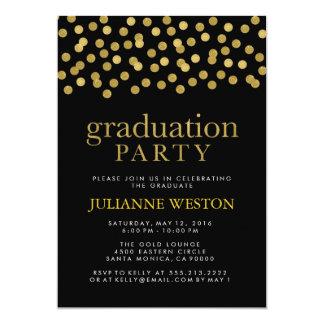 Glitter Gold and Black Confetti Graduation Party Card