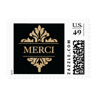 Glitter Gold and Black Merci Postage