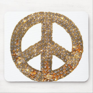 Glitter Gold and Diamonds Peace Sign Mouse Pad