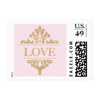 Glitter Gold and Pink Love Stamps