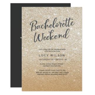 Glitter Gold Bachelorette Weekend Invitation