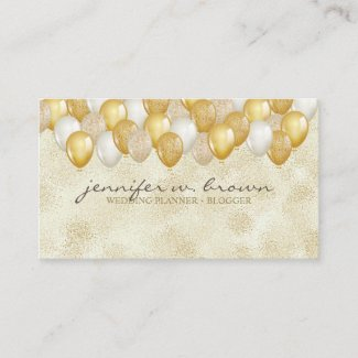 Glitter Gold Balloon Yellow Wedding Birthday Party Business Card